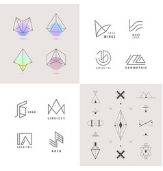 set of abstract linear logos vector image