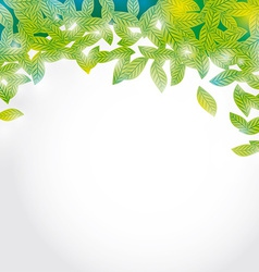 Summer branch with Fresh green leaves on white vector image vector image