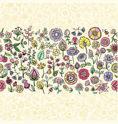 colorful doodle flowers vector image vector image
