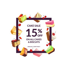 frame with place for text and cartoon cake vector image