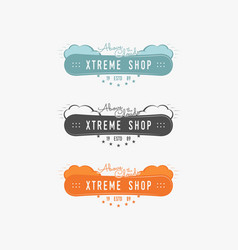 set of snowboarding extreme shop logo label vector image vector image