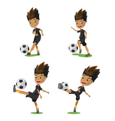 soccer player cartoon pose set vector image vector image