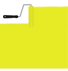 Yellow paint roller painting the wall vector image