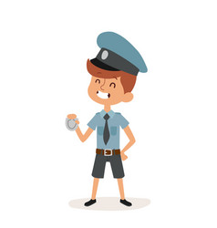 policeman boy cap and badge hands cop cartoon vector image