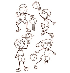 Simple sketches of basketball players vector image