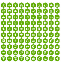 100 call center icons hexagon green vector
