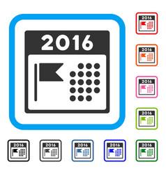 2016 holiday calendar framed icon vector image