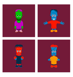 assembly flat halloween zombie men vector image