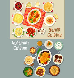Austrian and swiss cuisine tasty lunch icon set vector