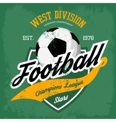 Ball for soccer or football game badge vector image