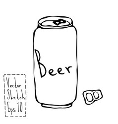 Beer can and key doodle sketch bar vector
