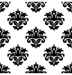 Black and white damask style fabric pattern vector image
