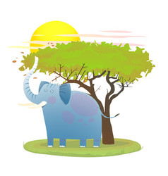 Blue baby elephant in nature with tree and sun vector