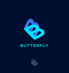 Blue butterfly logo double b concept vector
