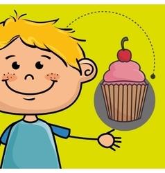 Boy cup cake bakery vector