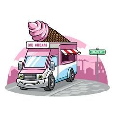 cartoon ice cream van vector image