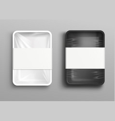 cellophane-covered food tray or storage package vector image