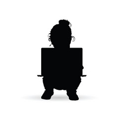 child with a laptop on her lap silhouette vector image