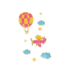 childish drawing of airplane and air balloon in vector image