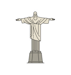 Christ statue a famous landmark in brazil sketch vector
