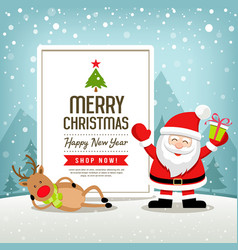 christmas banners sale santa claus and reindeer vector image