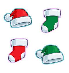 christmas cartoon icon set - santa claus elf hats vector image