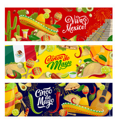 Cinco de mayo mexican fiesta sombreros and guitar vector