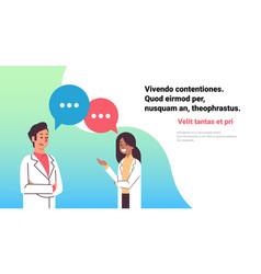 Couple doctors chat bubble treatment communication vector