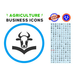 Cow handbook rounded icon with set vector