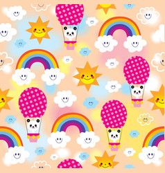 cute baby panda bears pattern vector image