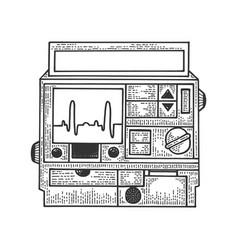 Defibrillator heart cardiac device sketch vector