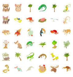 Different animal icons set cartoon style vector