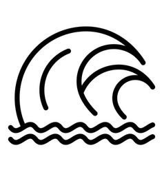 Double tsunami wave icon outline style vector