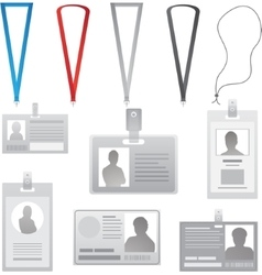 Employee cards collection lanyards with vector image
