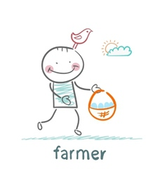 farmer carries a basket of eggs vector image