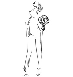 fashion sketch cartoon models girls with bouquet vector image
