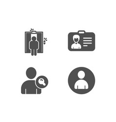 find user identification card and elevator icons vector image