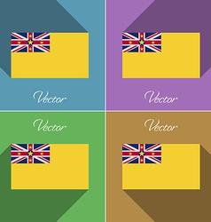 Flags niue set colors flat design and long vector