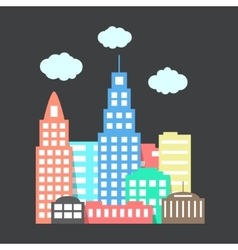 flat style city with clouds on dark background vector image