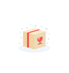 Fragile parcel package icon vector