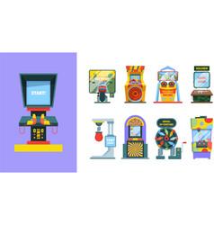 game arcade machine set electronic gaming machine vector image