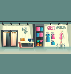 girl s boutique female clothing shop vector image