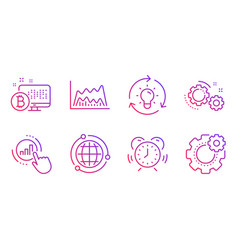 Globe gears and idea icons set graph chart vector