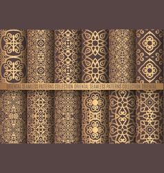 golden arabesque patterns vector image