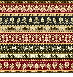 Golden greek ornament meander vector
