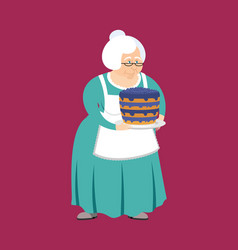 grandmother with pie grandma and blueberry cake vector image