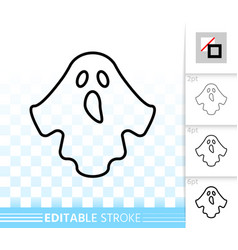 halloween ghost simple black line icon vector image