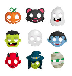 Halloween monster head icons vector