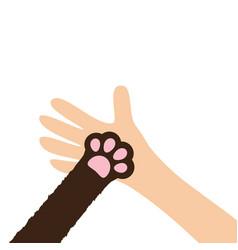 Hand arm holding cat dog paw print leg foot help vector