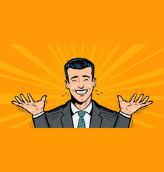 Happy businessman or student rejoices at success vector